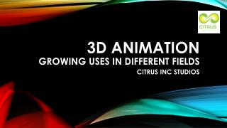 3D Animation in Different Fields