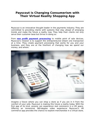 Payscout is Changing Consumerism with Their Virtual Reality Shopping App