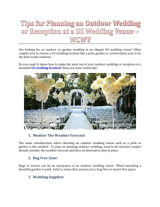 Tips for Planning an Outdoor Wedding or Reception at a US Wedding Venue - WCWV
