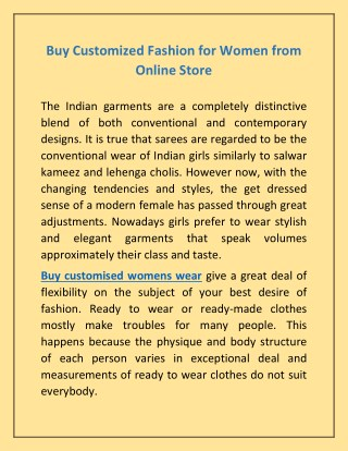 Buy Customised Womens Wear - Kurti, Tops, Bottom