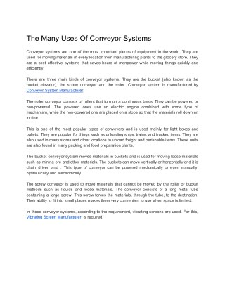 The Many Uses Of Conveyor Systems