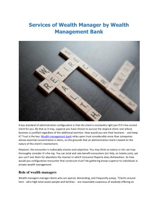 Services of Wealth Manager by Wealth Management Bank