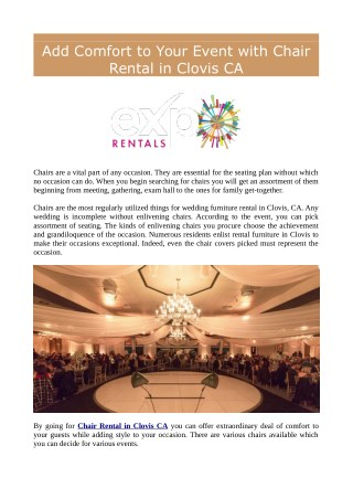 Add Comfort to Your Event with Chair Rental in Clovis CA