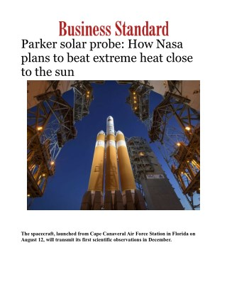 Parker solar probe: How Nasa plans to beat extreme heat close to the sun