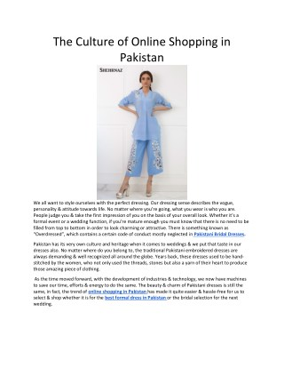 The Culture of Online Shopping in Pakistan