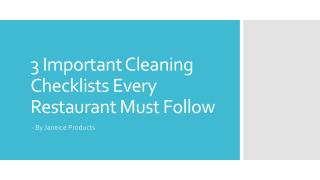 3 Important Cleaning Checklists Every Restaurant Must Follow
