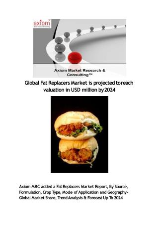 Fat Replacers Market - Global Industry Analysis, Size, Trend & Application Report