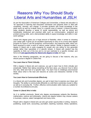 Reasons Why You Should Study Liberal Arts and Humanities at JSLH