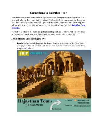 Comprehensive Rajasthan Tour