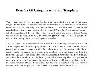 Benefits Of Using Presentation Templates