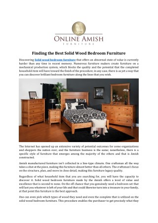 Finding the Best Solid Wood Bedroom Furniture