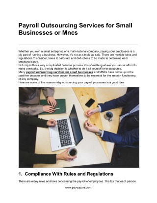 Payroll Outsourcing Services for Small Businesses or Mncs