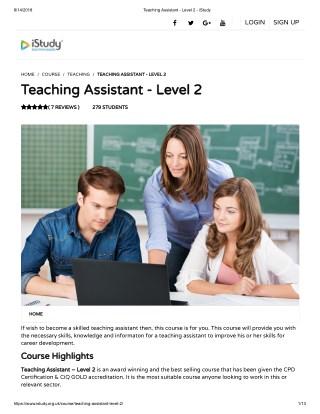 Teaching Assistant - Level 2 - istudy