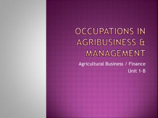 Occupations in Agribusiness  management