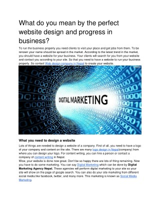 What do you mean by the perfect website design and progress in business_