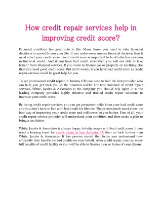 How credit repair services help in improving credit score?