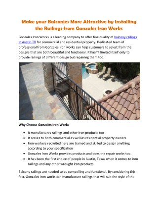 Make your Balconies More Attractive by Installing the Railings from Gonzales Iron Works