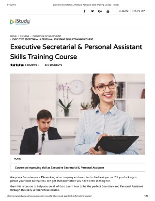 Executive Secretarial & Personal Assistant Skills Training Course - istudy