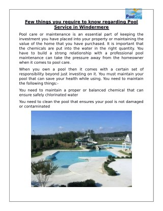 Few things you require to know regarding Pool Service in Windermere