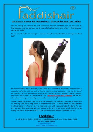 Wholesale Human Hair Extensions – Choose the Best One Online