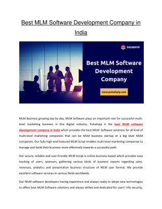 Best MLM Software Development Company in India