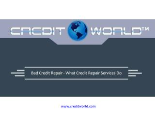 Bad Credit Repair - What Credit Repair Services Do