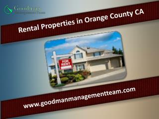 Rental Properties in Orange County CA