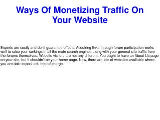 Ways Of Monetizing Traffic On Your Website