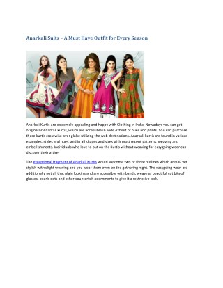 Anarkali Suits – A Must Have Outfit for Every Season