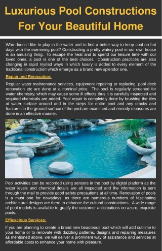 Luxurious Pool Constructions For Your Beautiful Home