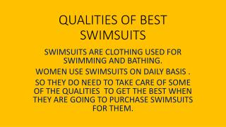 QUALITIES OF BEST SWIMSUITS