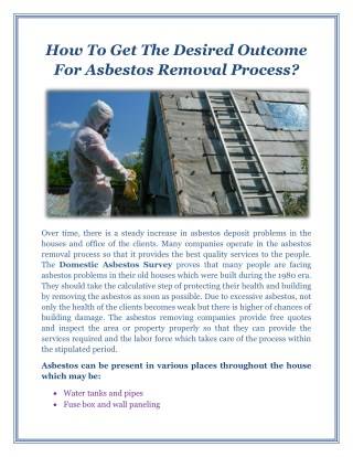 How To Get The Desired Outcome For Asbestos Removal Process?