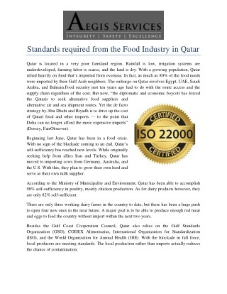 Standards required from the Food Industry in Qatar