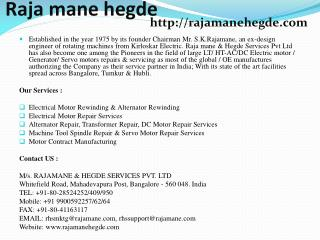 Alternator Repair, Transformer Repair, DC Motor Repair Services Bangalore, India