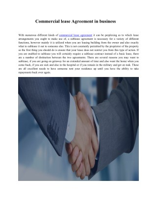 Commercial lease Agreement in business
