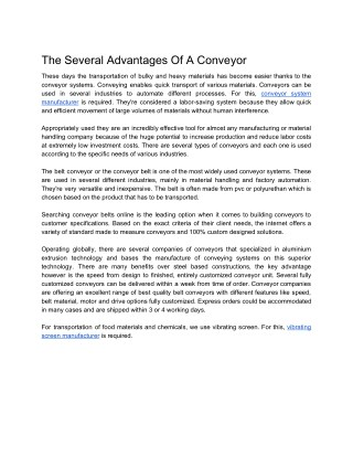 The Several Advantages Of A Conveyor