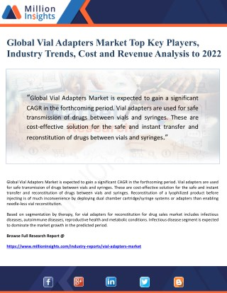 Global Vial Adapters Market Top Key Players, Industry Trends, Cost and Revenue Analysis to 2022