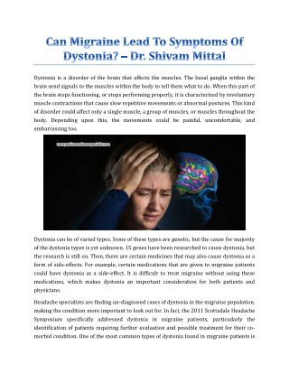 Can Migraine Lead To Symptoms Of Dystonia? - Dr. Shivam Mittal