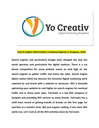 SEO agency in Gurgaon | SEO company in Gurgaon -  YOCreativ