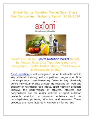 Sports Nutrition Market worth in USD million by 2024