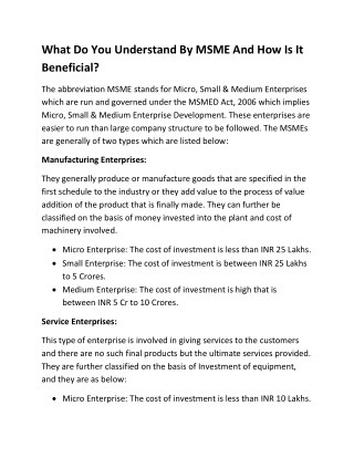 What Do You Understand By MSME And How Is It Beneficial?
