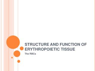 STRUCTURE AND FUNCTION OF ERYTHROPOIETIC TISSUE