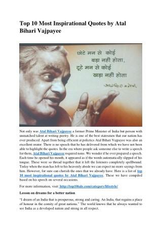 Top 10 Most Inspirational Quotes by Atal Bihari Vajpayee