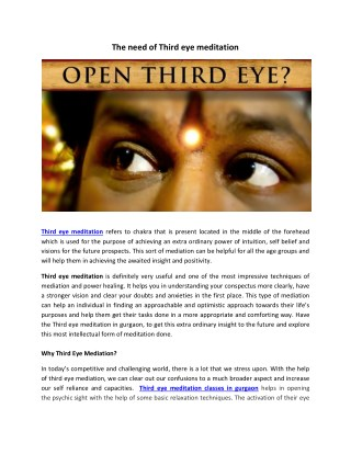 The need of Third eye meditation