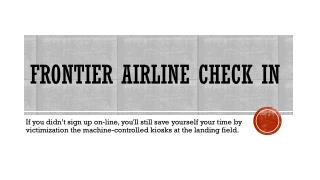 Frontier airline check in