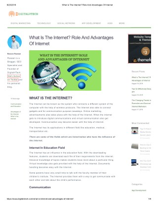 What is Internet and the Advantages of Internet