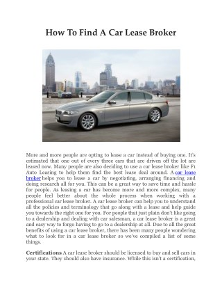 HOW TO FIND A CAR LEASE BROKER