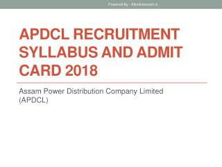 APDCL Recruitment Syllabus and Admit Card 2018
