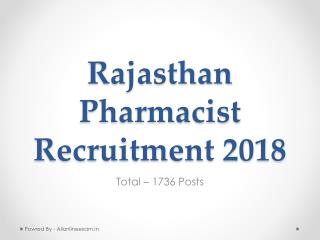 Rajasthan Pharmacist Recruitment 2018