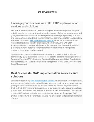 SAP ERP implementation services and solutions